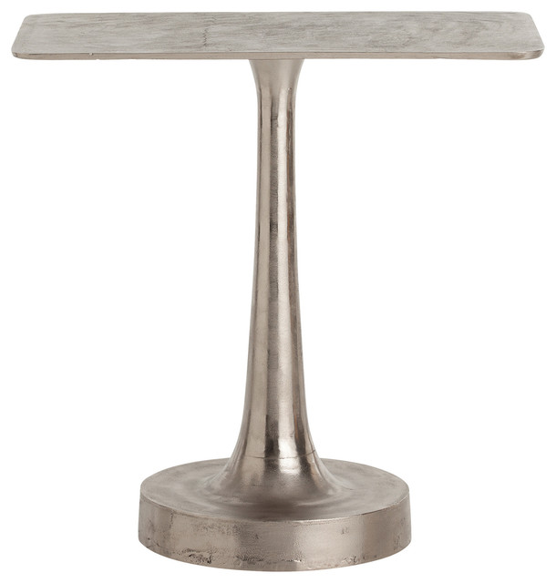 Bellamy Polished Distressed Round Base Aluminum Side Table transitional-side-tables-and-end-tables