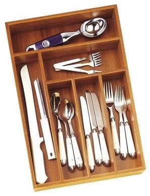 Lipper Bamboo Deep Flatware Drawer Organizer modern-kitchen-drawer-organizers