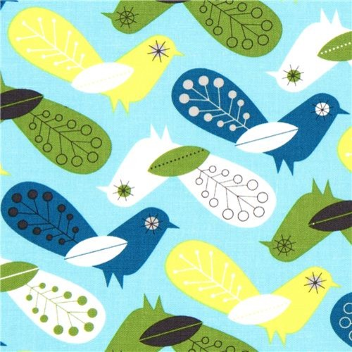 turquoise fabric with colourful birds Robert Kaufman fabric