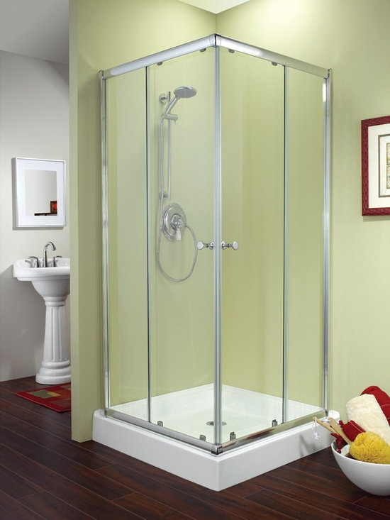 "Fleurco Banyo Amalfi Square 36"" x 36"" Frameless Corner Entry Shower Doors EAC36 - Deluxe anti-jump smooth rolling system"