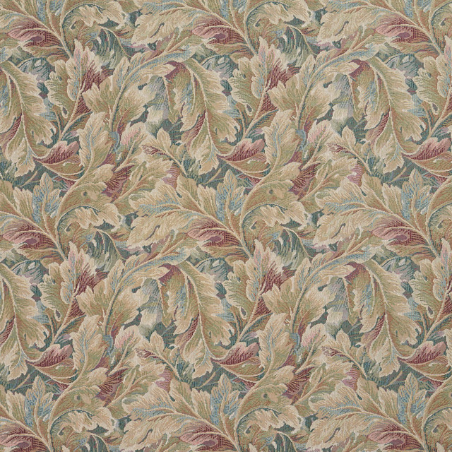 Burgundy And Green Floral Leaf Tapestry Upholstery Fabric