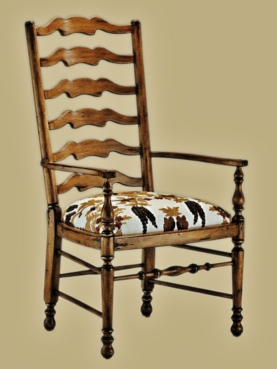 Cool Stuff - Country Manor Dining Arm Chair drawing on the relaxed country lifestyles of England, Italy and France combines Old World European influences with custom capabilities - 70 finishes and trims – 500 fabrics and 45 leathers - dimensions:  25.75w  26.5d x 46h - also available: Country Manor Side Chair