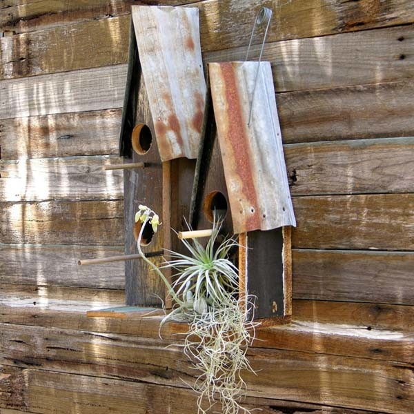 Recycled timber & corrugated iron birdhouses by Boodle Concepts. rustic