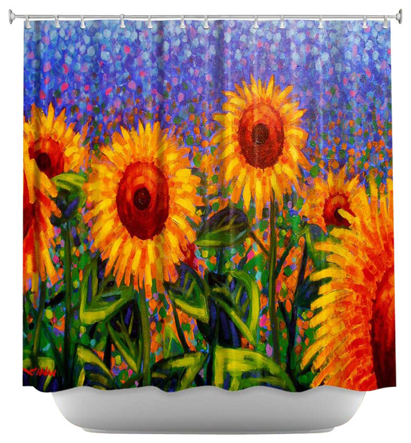 shower curtain artistic sunflowers contemporary. Black Bedroom Furniture Sets. Home Design Ideas