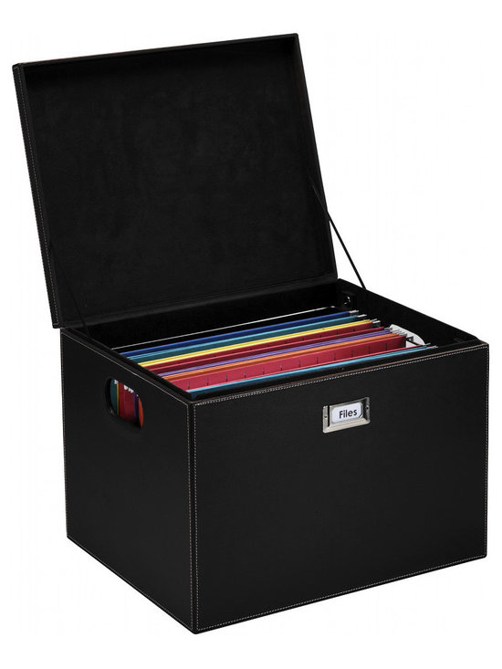 Great Useful Stuff - Hanging File Box - All that paperwork cramping your style? Get organized with this elegant hanging file box. The removable bar adjusts to hold either letter size or legal size folders so you can create your ideal filing system.