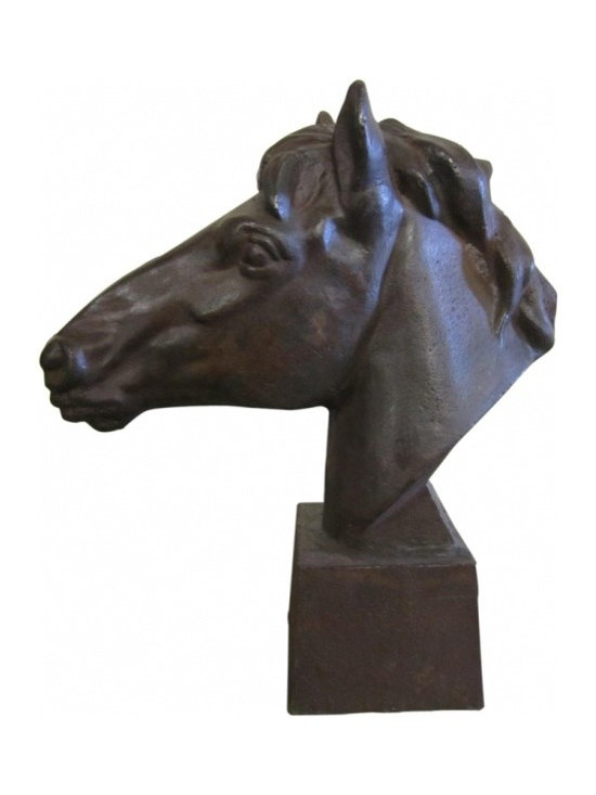 Metal Horse Head Sculpture - Vintage sculpture of horse head made from metal. Very heavy.