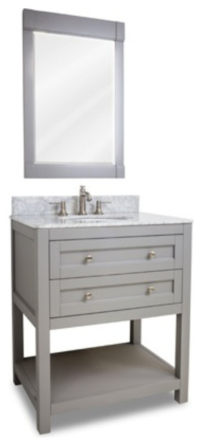 Raised Double Drawer Wood Traditional Shaker Vanity Set With Marble Top Contemporary