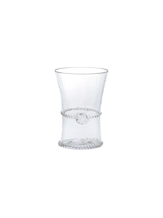 "Juliska - Juliska Graham Small Tumbler Clear - Juliska Graham Sm. Tumbler Clear. Cinched at the waistline and accented with a single berry, this tumbler has an elegant and tailored look. Lovely for fresh-squeezed juice at breakfast or chilled white wine for an al fresco lunch. Dimensions: 4"" H Capacity: 6 oz"