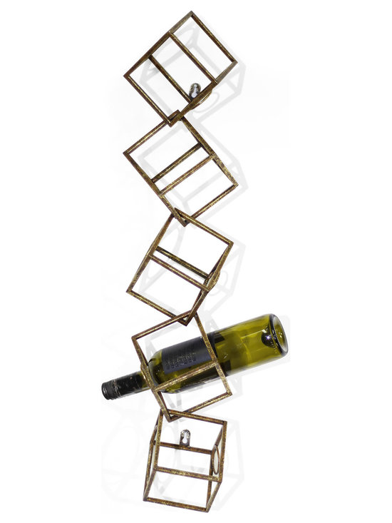 Vertuu Design - Jarrell Metal Wall Haning Wine Rack - Give your walls a bold update using the unique Jarrell Metal Wall Hanging Wine Rack. This piece features a three-dimensional cube design in a distressed gold finish that is perfect for displaying your favorite wine bottles. Hang it among colorful artwork or photography for an eye-catching gallery-style effect. Holds five wine bottles.