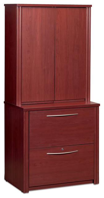 Bestar Embassy 2-Drawer Lateral Wood File Cabinet with Hutch-Cappuccino Cherry - Transitional ...