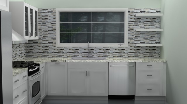 Classic IKEA kitchen - ADEL white traditional-rendering