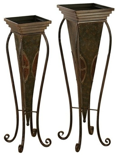 set of 2 tall metal planter stand with queen anne legs traditional outdoor decor by amb. Black Bedroom Furniture Sets. Home Design Ideas