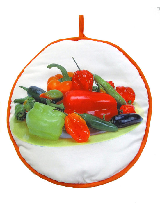 Camerons Products - 12 Inch Tortilla Warmer - Peppers - Never have dry, cold tortillas again! Just 45 to 60 seconds in the microwave for up to 12 tortillas and they will stay hot & soft for an hour. Also ideal for rolls, muffins, bread, hotdog buns and even baked potatoes.