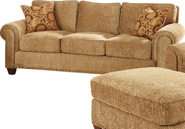 Steve Silver Batavia Sofa W 2 Accent Pillows In Deep Gold