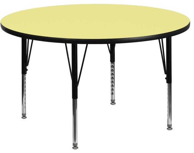 "42"" Round Activity Table with Yellow Top and Adjustable Pre-School Legs contemporary-kids-tables-and-chairs"