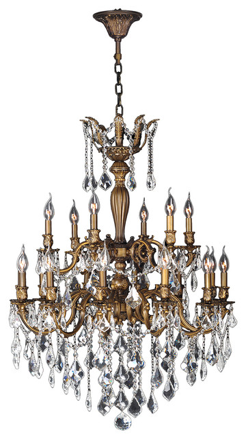 """Versailles 18 Light Antique Bronze Finish & Crystal Chandelier 30"""" D Two 2 Tier traditional-chandeliers"""