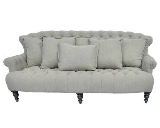 Penley Sofa - Inspired by traditional Chesterfield style, this sofa boosts clean lines, fabric covered tufted buttons and multiple throw pillows. Made of a natural linen blend fabric, the Penley Sofa adds timeless elegance to any room. From the Villa Collection