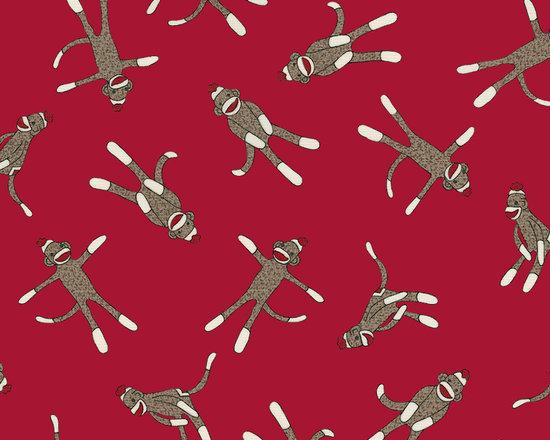 Red Sock Monkey Fabric -