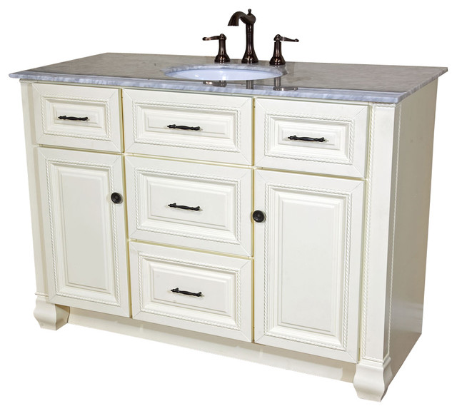 50 Inch Single Sink Vanity Heirloom White Traditional Bathroom Vanities A