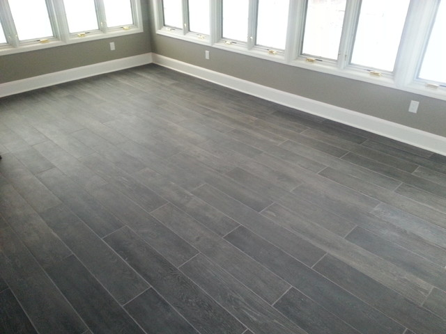 Sunroom Plank Tile Floor Traditional Sunroom New
