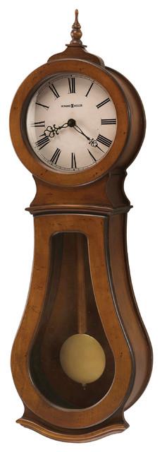 Howard Miller Chestnut Triple Chime Wall Clock   Cleo Wall contemporary-wall-clocks