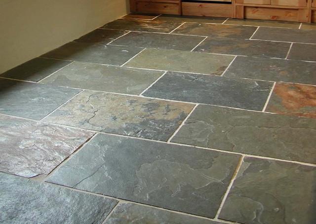 Grey green slate floor traditional-floor-tiles
