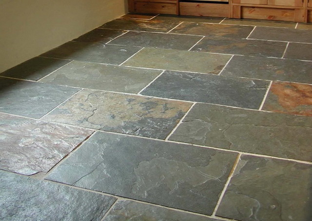 Grey Green Slate Floor Traditional Wall And Tile