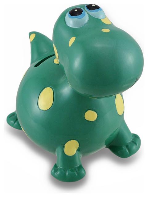 Childrens green bobble head dinosaur coin bank piggy bank for Childrens piggy bank