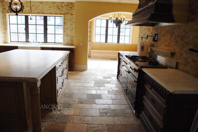 Kitchen stone floors mediterranean style mediterranean for Stone kitchen floor ideas
