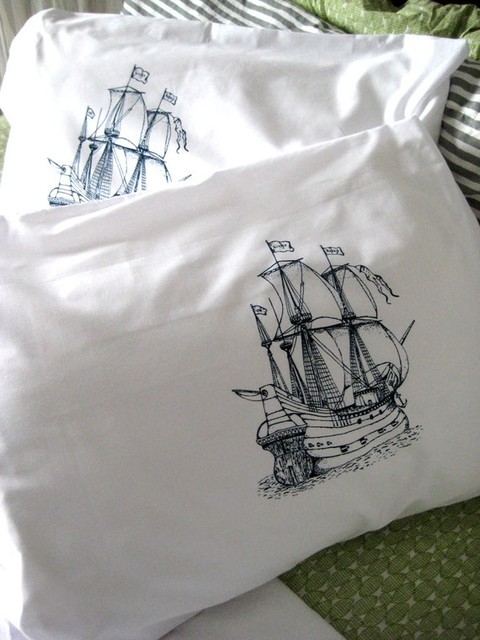 Screenprinted Nautical Pillow Covers by Oh Little Rabbit eclectic bed pillows