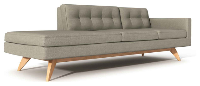 Luna 94 One Arm Sofa With Chaise Modern Indoor Chaise