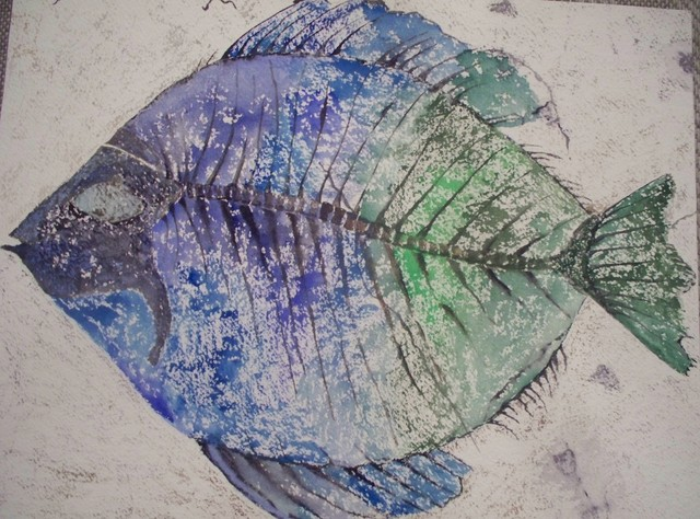 """Priscacara Serrata Fossil in Blue and Green"" Artwork contemporary-originals-and-limited-editions"