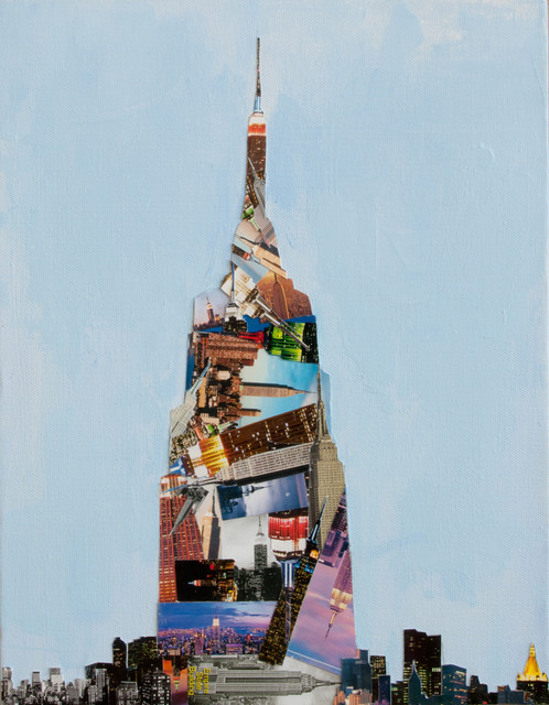 Empire State Building Blue Collage Contemporary