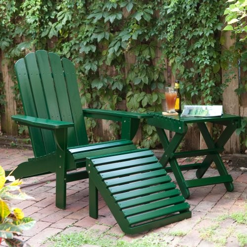 Shoreline Deluxe Adirondack Chair and Ottoman and Table Set - Green contemporary-outdoor-chairs