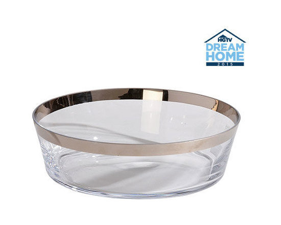 Ethan Allen - Platinum-Banded Low Bowl - Our banded bowl has straight-up style. Clear glass is ringed with a chic platinum-toned band; the smoky gray finish is applied to each piece by hand.