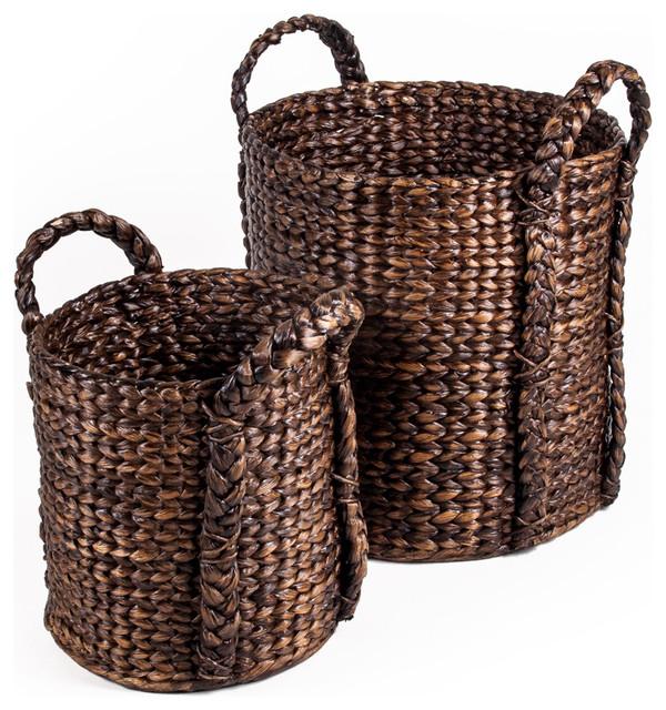 Bucket Water Hyacinth Basket Set of 2 rustic-baskets