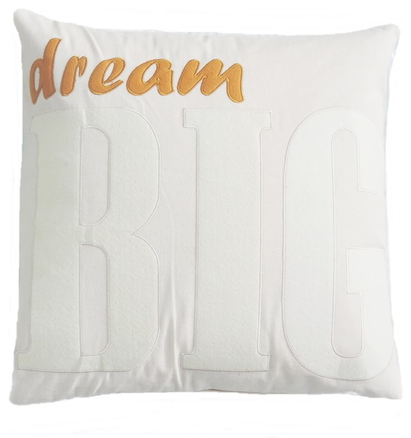 Decorative Throw Pillows With Words : Word Pillow Modern Cotton Applique DREAM BIG square Decorative - Traditional - Decorative ...
