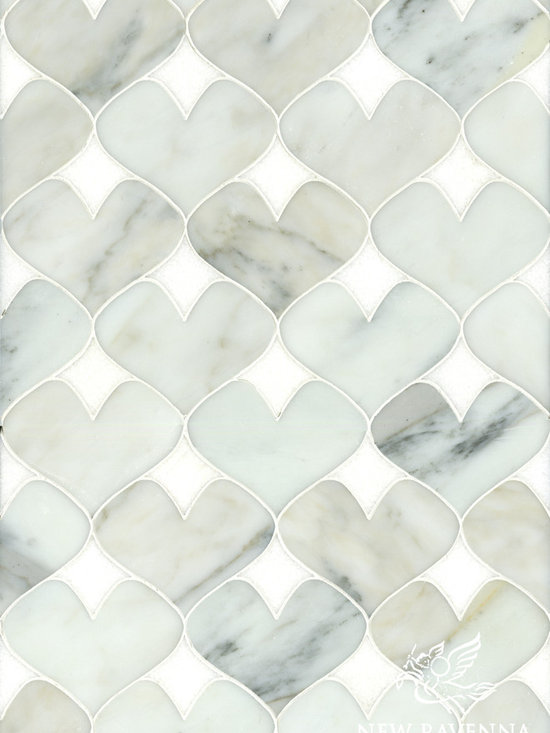 Erin Adams - Hearts - Hearts, a natural stone waterjet mosaic shown in Calacatta Tia and Thassos, is part of the Erin Adams Collection for New Ravenna Mosaics.