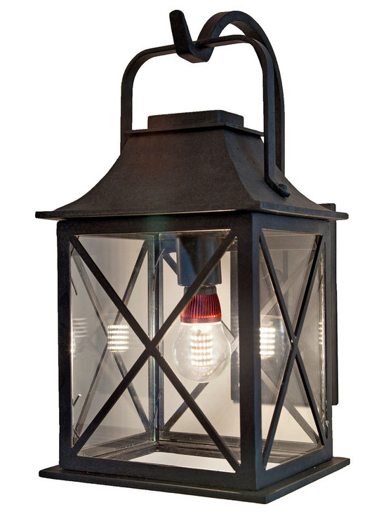 Forged Lighting Newport Lantern - Wrought Iron Exterior Arm Mount Fixture.  Please email info@forgedlighting.com to purchase.  Ships Nationwide.  Shown with Pearl50 LED bulb (not included).