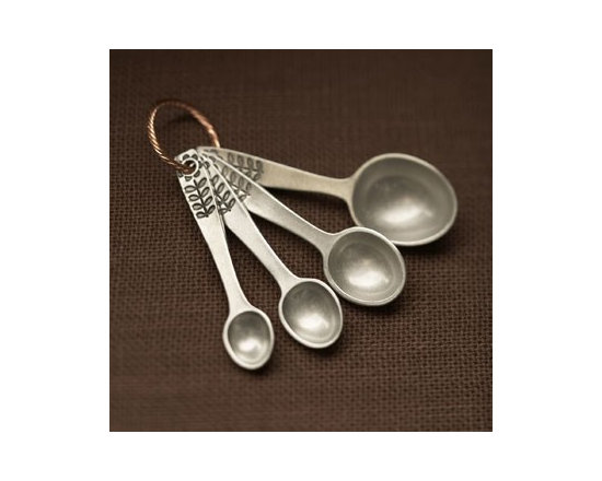 Beehive Flower Measuring Spoons - Four standard Flower Measuring Spoons by Beehive are hand cast in lead free pewter on a twisted copper ring. Increments engraved on back.