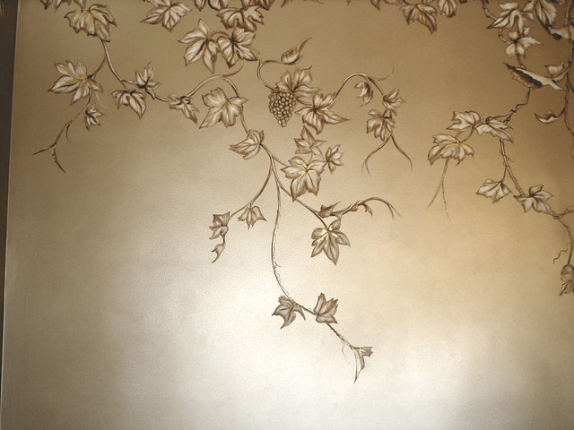 Chinoiserie Grapes on Champagne Metallic Faux traditional
