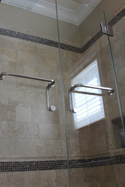 Frameless Shower Enclosure With Double Doors Traditional Shower