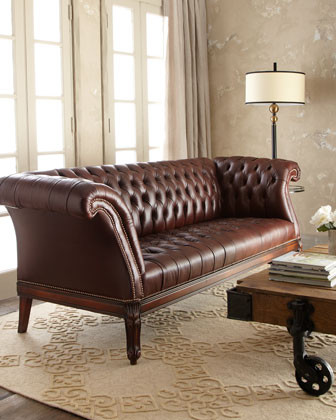 Old Hickory Tannery Lariette Tufted Leather Sofa