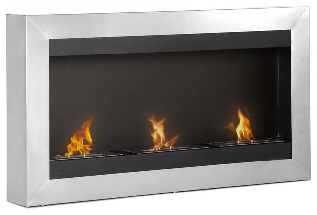 Magnum wall mounted ventless ethanol fireplace for Ventless fireplace modern