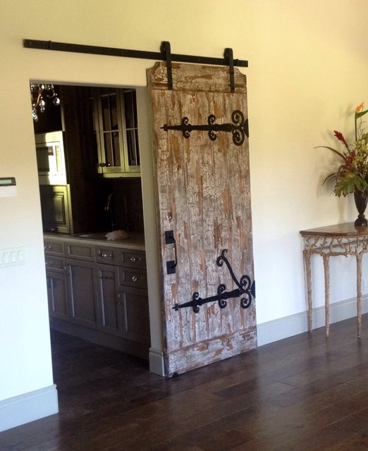 Custom made handcrafted Barn Door and hand forged iron ...