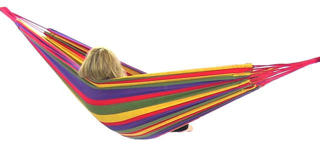 "Cotton Hammock in ""Warm"" Colors, Rainbow tropical-hammocks-and-swing-chairs"