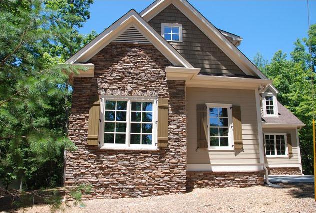 Custom Exterior Tile : Custom brown ledge stone exterior
