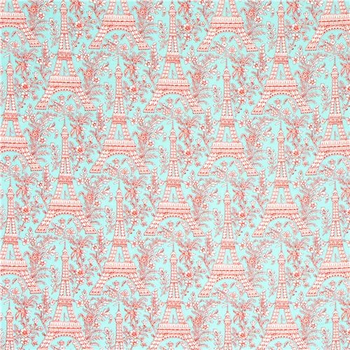 Turquoise Michael Miller Fabric Eiffel Tower Flowers Fabric
