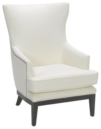 Reynaldo White Leather Wing Chair - Contemporary ...