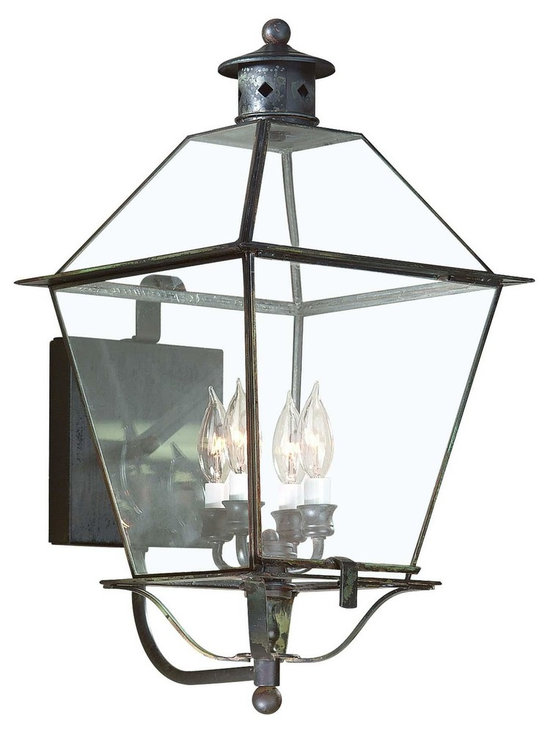 """Troy Lighting Montgomery 4-Light 23.5"""" Outdoor Sconce - Troy Lighting presents the Montgomery Collection's 4-Light outdoor lantern wall sconce. This fixture comes in a Charred Iron finish, and is constructed from Solid Brass. Dimensions: 23.5"""" high by 12.25"""" wide; extends 14.25"""" from surface."""